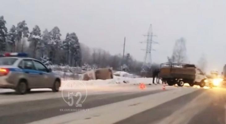 Две ГАЗели столкнулись лоб в лоб в Нижегородской области